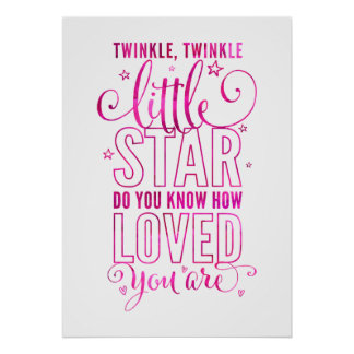NURSERY RHYME twinkle, twinkle little star pink Poster