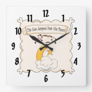 Nursery Rhymes Cow & Moon Kids Clock