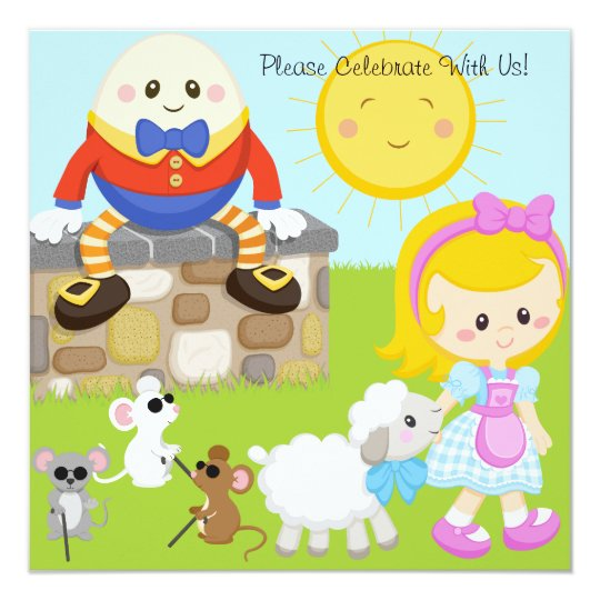 Nursery Rhymes Customized Birthday Invitations Zazzlecom