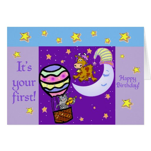 Nursery rhymes first birthday card template zazzle for First birthday board template