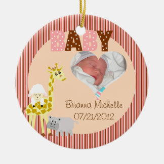 Nursery Stuffed Animals Personalized Baby Shower Ceramic Ornament