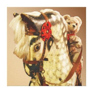 Nursery Teddy Riding Wooden Toy Horse Canvas Print