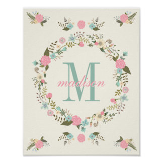 Nursery Wall Art Print Monogram Poster