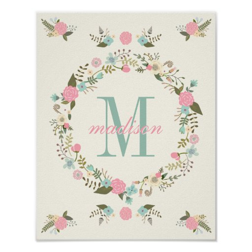 Wall Decor Nursery Nz : Nursery wall art print monogram poster zazzle