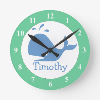 Nursery wall clock with whale print and baby name