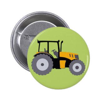 Nursery yellow tractor illustration dump truck 2 inch round button