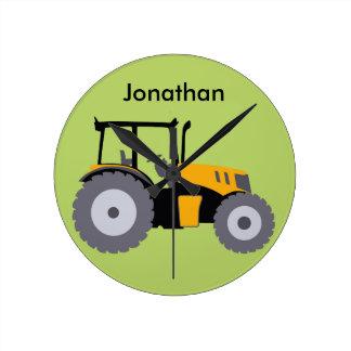 Nursery yellow tractor illustration dump truck round wallclock