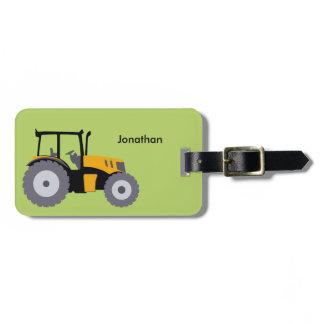 Nursery yellow tractor illustration dump truck luggage tag