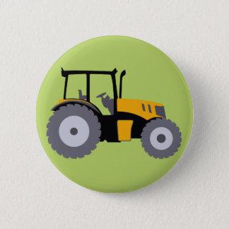Nursery yellow tractor illustration dump truck pinback button