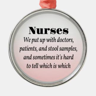 Nurses and Stool Samples Round Metal Christmas Ornament