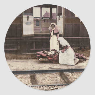 Nurses and Wounded at Train Station Classic Round Sticker