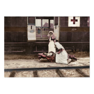 Nurses and Wounded at Train Station Large Business Card