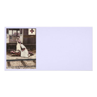 Nurses and Wounded at Train Station Photo Card