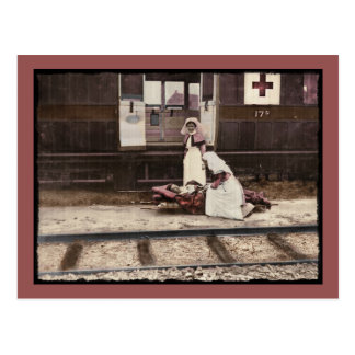 Nurses and Wounded at Train Station Postcard