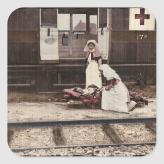 Nurses and Wounded at Train Station Square Sticker