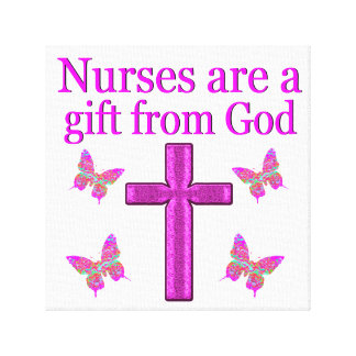 NURSES ARE A GIFT FROM GOD CANVAS PRINT