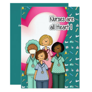 Nurses are All Heart. Custom Flat Cards