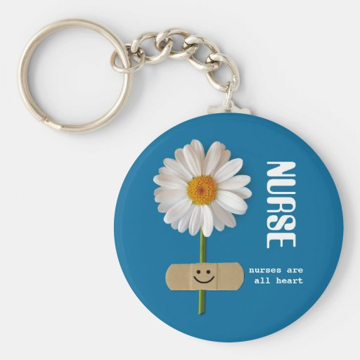 Nurses are all Heart . Smiling Daisy Gift Keychain