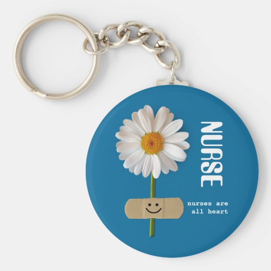 Nurses are all Heart . Smiling Daisy Gift Keychain