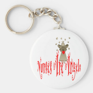 Nurses Are Angels Basic Round Button Keychain