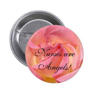 Nurses are Angels buttons Nursing Pink Rose