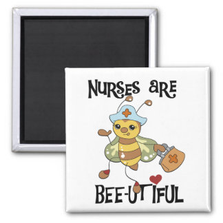 Nurses Are Bee-utiful T-shirts and Gifts 2 Inch Square Magnet
