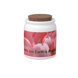 Nurses are Earth's Angels! candy jars Pink Tulips