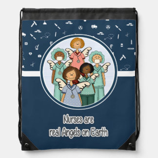 Nurses are Real Angels. Gift Drawstring Backpack