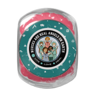 Nurses are Real Angels on Earth. Gift Candy Glass Candy Jar