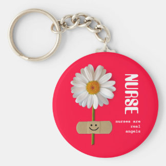 Nurses are Real Angels. Smiling Daisy Keychain