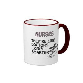 NURSES  ARE SMARTER THAN DOCTORS RINGER MUG