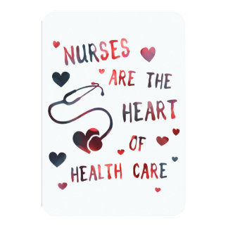 nurses are the heart of healthcare bokeh card