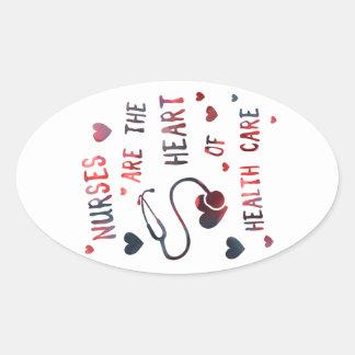 nurses are the heart of healthcare bokeh oval sticker