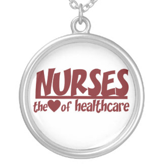Nurses are the Heart of Healthcare Round Pendant Necklace