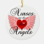 Nurses Are The Real Angles Double-Sided Ceramic Round Christmas Ornament