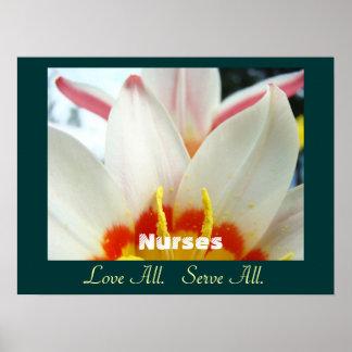 Nurses art prints Love All Serve All White Tulips Poster