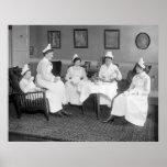 Nurses At Tea, early 1900s Print