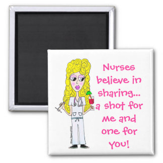 Nurses believe in sharing... 2 inch square magnet