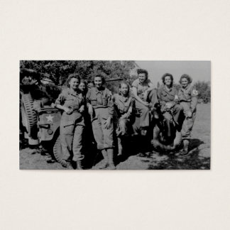 Nurses Beside Jeep WWII Business Card