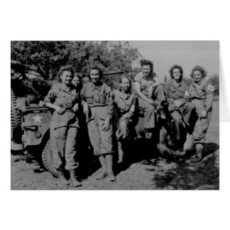 Nurses Beside Jeep WWII Card