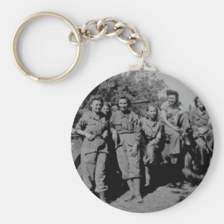 Nurses Beside Jeep WWII Keychain