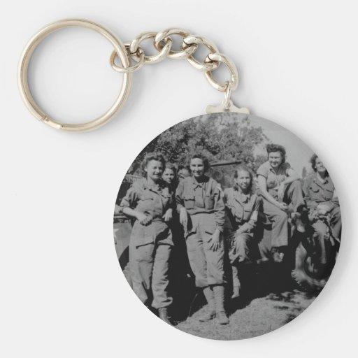 Nurses Beside Jeep WWII Keychain