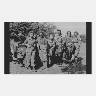 Nurses Beside Jeep WWII Rectangular Sticker