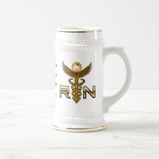 Nurses Caduceus RN Pledge Modified view about desi Beer Stein