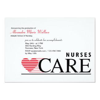 "Nurses Care Nursing Graduation Invitation 5"" X 7"" Invitation Card"
