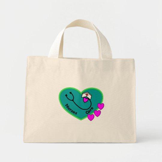 nurses care teal heart tote bag