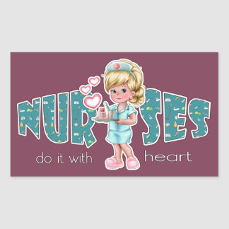 Nurses care with Heart. Nurses Day Stickers