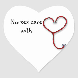 Nurses care with Heart - Nurses Gift - Personalize Heart Sticker