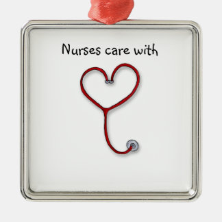 Nurses care with Heart - Nurses Gift - Personalize Metal Ornament