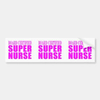 Nurses Cool Pink Gifts Board Certified Super Nurse Bumper Sticker